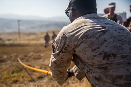 MARINE CORPS BASE CAMP PENDLETON, Calif. -- Corporal Larae Butler, a military policeman with Law Enforcement Platoon, Koa Moana 16-4, uses a holly stick to locate mock improvised explosive device wires on Camp Pendleton June 23, 2016. A holly stick is used to help confirm the spotting of an IED. Koa Moana seeks to enhance senior military leader engagements between allied and partner nations with a collective interest in military-to-military relations, as well as discuss key aspects of military operations, capability development, and interoperability. (U.S. Marine Corps photo by Sgt. Tony Simmons)