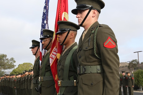 MARINE CORPS BASE CAMP PENDLETON, Calif. – A color guard with 5th Marine Regiment stands at attention during a ceremony celebrating the anniversary of the unit being awarded the French fourragere at Camp Pendleton, June 30, 2016. The fourragere was awarded in 1918 for the Marines' bravery and now stands as a symbol of excellence to the regiment. (U.S. Marine Corps photo by Pfc. Joseph Sorci/RELEASED)