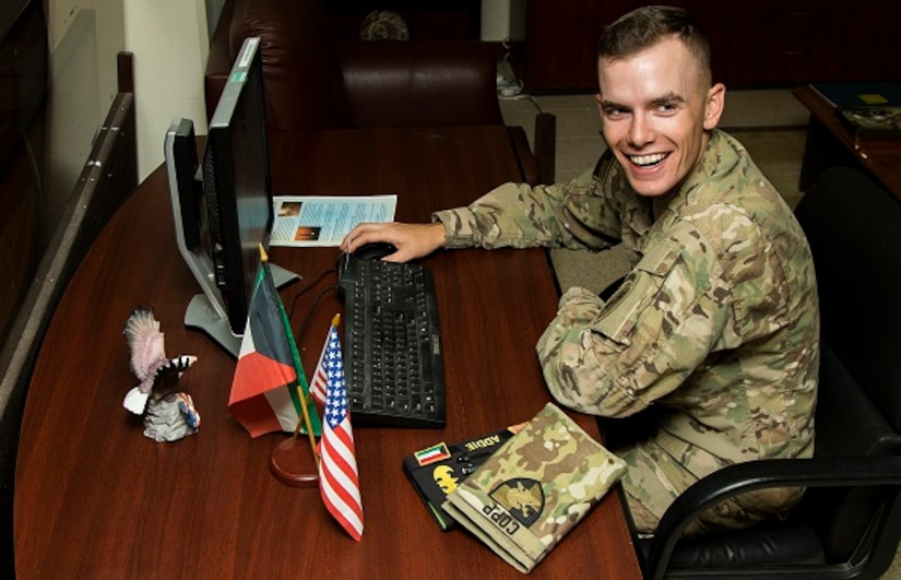 Cadet Spenser Copp, a native of Fairfax, Va. with F Company, 2nd Regiment at the U.S. Military Academy, West Point, N.Y. works at Host Nation Affairs, Area Support Group – Kuwait, June 24. The cadet interned at Camp Arifjan, Kuwait from June 13 to July 1 as part of a unique, hands-on training opportunity hosted by U.S. Army Central's Civil Military Operations and HNA, ASG – Ku.