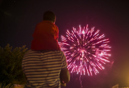 Master Sgt. Wally Robinson, communications chief, Marine Corps Communication-Electronics School, and his son Tristan, 5, watch a firework display during the Twentynine Palms Independence Day Celebration at Luckie Park in Twentynine Palms, Calif., July 4, 2016. (Official Marine Corps photo by Lance Cpl. Dave Flores/Released)