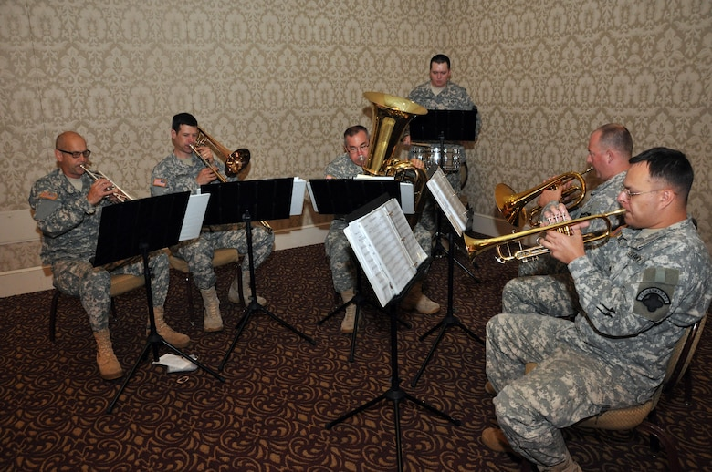 U.S. Army Corps of Engineers photo by Gina Baltrusch -- Soldiers of the 204th U.S. Army Band, from Vancouver, Washington, provided music for the U.S. Army Corps of Engineers, Walla Walla District, change-of-command ceremony, held July 8, 2016 at the Marcus Whitman Hotel and Conference Center in downtown Walla Walla. (U.S. Corps of Engineers photo)