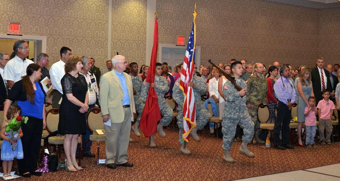 Soldiers from the 864th Engineer Battalion, stationed at Joint Base Lewis-McChord, near Tacoma, Washington, provided a ceremonial color guard for the U.S. Army Corps of Engineers, Walla Walla District, change-of-command ceremony, held July 8, 2016 at the Marcus Whitman Hotel and Conference Center in downtown Walla Walla. (U.S. Corps of Engineers photo)