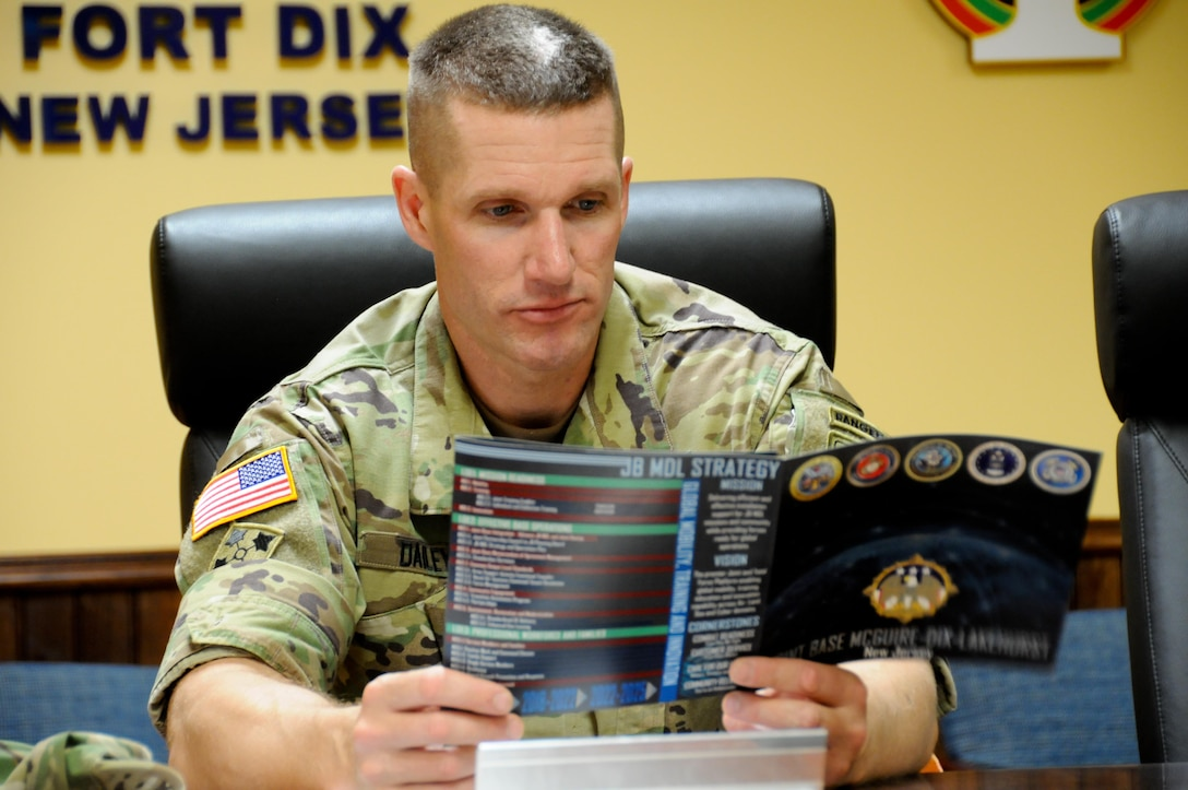 Sgt. Maj. of the Army Daniel A. Dailey reviews information provided at a command briefing by the U.S. Army Reserve's 99th Regional Support Command during a visit July 7 to the command's headquarters on Joint Base McGuire-Dix-Lakehurst, New Jersey. This event was part of a two-day visit to the joint base that included a tour of the base's key mission and training assets as well as a town hall meeting with Soldiers and Army civilians. The driving force behind Dailey's visit was Soldier readiness, which allows the Total Army to continue to answer the nation's calls in an increasingly volatile and uncertain world.