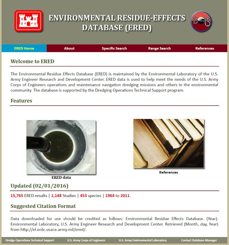The ERDC-EL Environmental Residue-Effects Database website (https://ered.el.erdc.dren.mil/) allows users to search BSAF data by chemical and species. ERED references may also be searched and viewed for data.