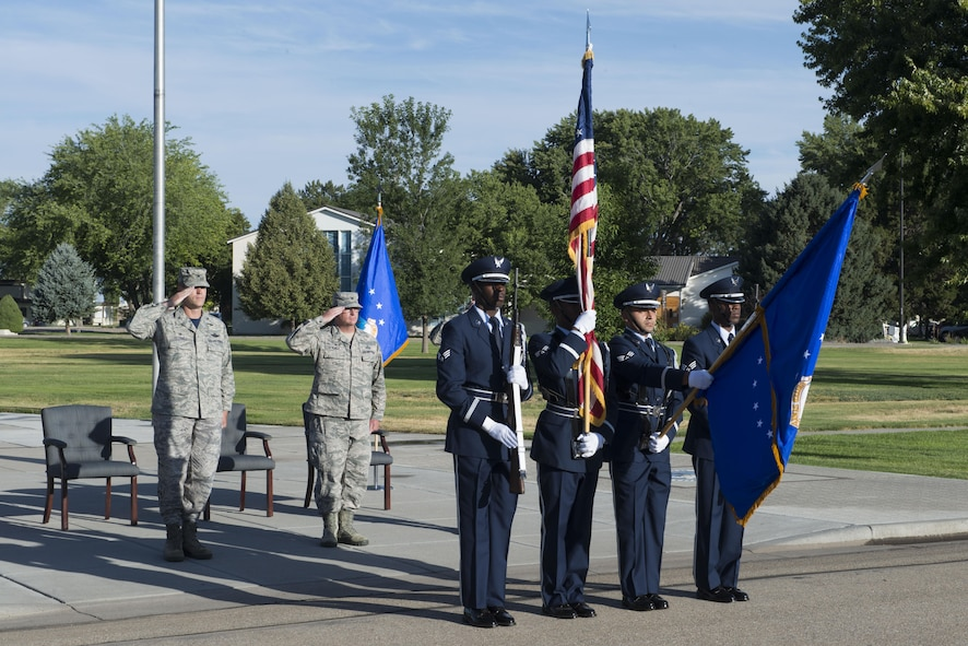 Base honor guardsmen presents the colors during the 366th Mission Support Group change of command July 8, 2016, at Mountain Home Air Force Base, Idaho. Col. Gary Kubat relinquished command of the 366th MSG to Col. John Blackwell after serving the group for two years. (U.S. Air Force photo by Senior Airman Malissa Lott/RELEASED