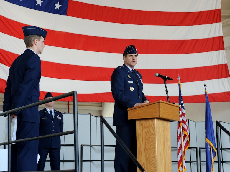 Maj. Gen. Bradford Shwedo (center), 25th Air Force commander speaks during a change of command ceremony at Beale Air Force Base, California July 8, 2016. Shwedo was the presiding official for the ceremony. (U.S. Air Force photo by Staff Sgt. Robert M. Trujillo)