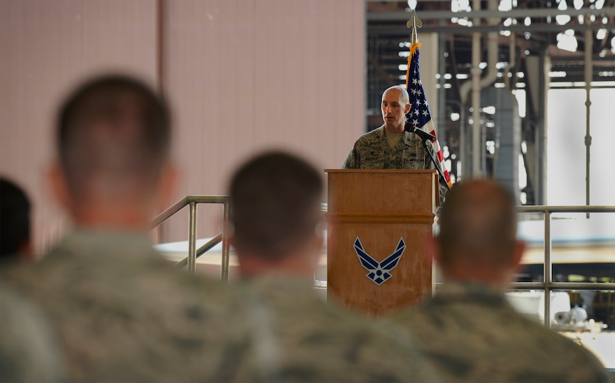 U.S. Air Force Maj. Timothy Liebold, the 509th Munitions Squadron commander, addresses the audience during a change of command ceremony at Whiteman Air Force Base, Mo., June 30, 2016. Liebold assumed command from U.S. Air Force Maj. Matthew Drossner. (U.S. Air Force photo by Senior Airman Sandra Marrero)