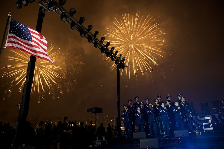 The United States Air Force Concert Band, Singing Sergeants, and Air Force Strings all teamed up for a performance at the Macy's 4th of July Fireworks display in New York City which aired on NBC. (USAF Photo by Chief Master Sgt Bob Kamholz/released)