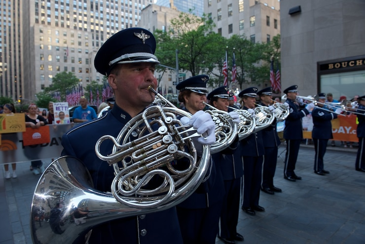 Image of ceremonial horns performing in New York.