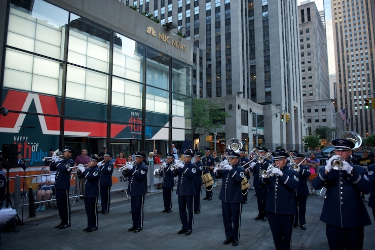 The Ceremonial Brass performed live on Rockefeller Plaza for NBC's The TODAY Show in New York City.  The July 4th performance featured Master Sergeant Tara Islas' arrangement of Strike Up The Band. (USAF Photo by Chief Master Sgt Bob Kamholz/released)