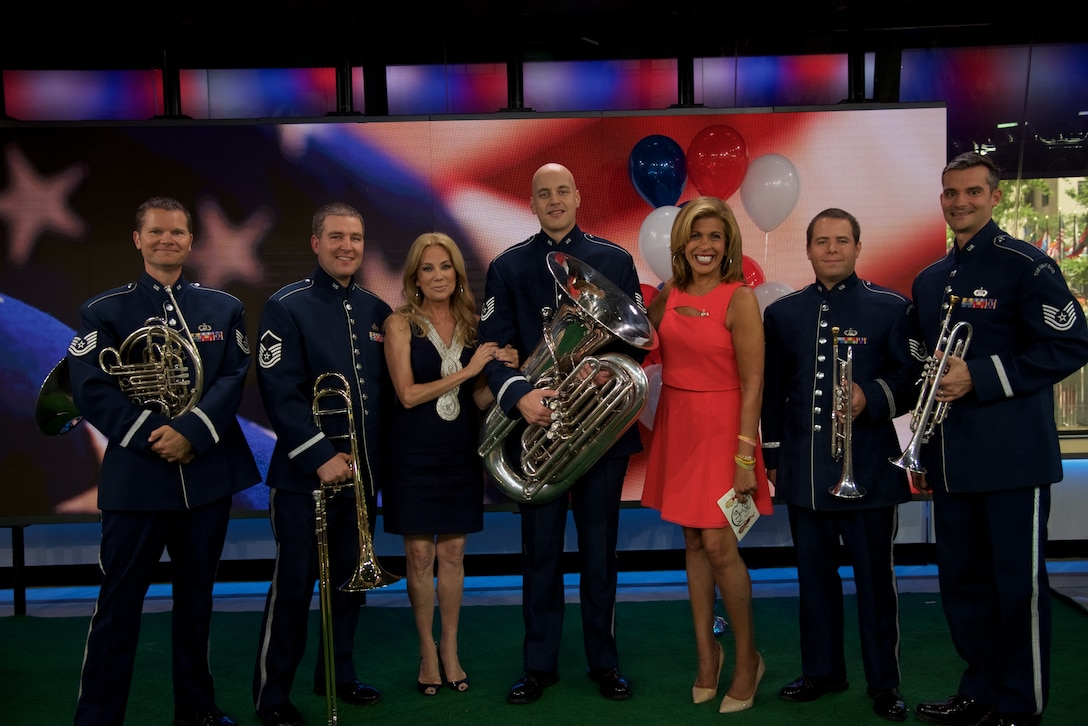 Members of the Ceremonial Brass Quintet celebrated the 4th of July with a special performance on Kathie Lee and Hoda on NBC's The TODAY Show. (USAF Photo by Chief Master Sgt Bob Kamholz/released)