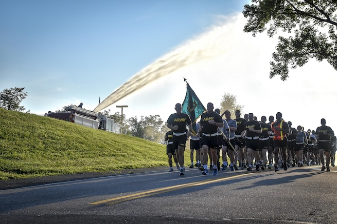 "LTG Charles D. Luckey, Chief of Army Reserve and U.S. Army Reserve Commanding General, and Brig. Gen. Robert D. Harter, director of Office of the Chief, Army Reserve, led Soldiers assigned to the Office of the Chief, Army Reserve, on a morning run at Fort Belvoir, Virginia, July 8, 2016.  As the Chief of Army Reserve and Commanding General, Luckey leads a community-based force of more than 200,000 Soldiers and Civilians with a ""footprint"" that includes 50 states, five territories, and more than 30 countries.  (U.S. Army photo by Master Sgt. Marisol Walker)"