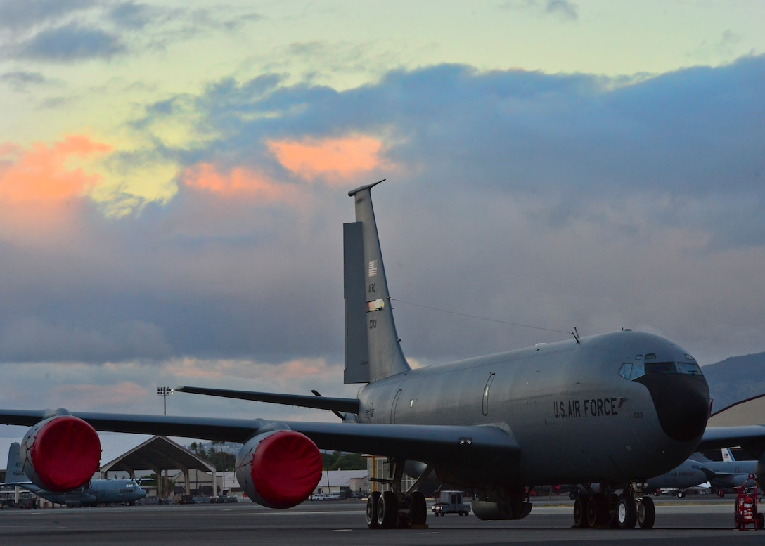 KC-135R Stratotanker's operated and maintained by Citizen Airmen from the 507th Air Refueling Wing arrived in Hawaii July 7, 2016 to support the Rim of the Pacific Exercise also known as RIMPAC.  The Oklahoma Reservists join forces with over twenty-six nations, 49 ships, six submarines, about 200 aircraft, and 25,000 personnel who are participating in RIMPAC from June 29 to Aug. 4 in and around the Hawaiian Islands and Southern California. RIMPAC 2016 is the 25th exercise in the series that began in 1971.(U.S. Air Force Photo/Tech Sgt. Aaron Oelrich)