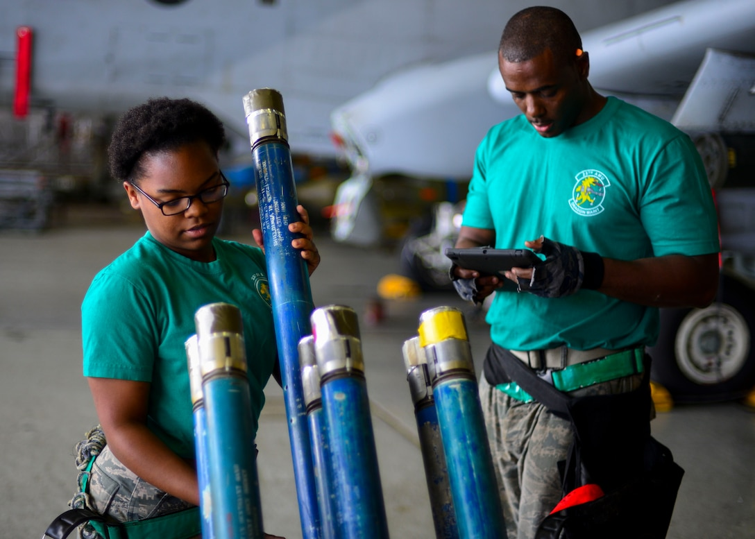 Airman 1st Class Saravia Boykins, 25th Aircraft Maintenance Unit weapons load crew member, prepares to load a strafe-run rocket on an A-10 Thunderbolt II while Staff Sgt. Michael Johnson, 25th AMU weapons load crew team chief, reads over their technical orders to ensure proper protocol is followed during the 51st Maintenance Group Weapons Load Crew of the Quarter competition at Osan Air Base, Republic of Korea, July 7, 2016. The best weapons load crews from the 36th and 25th AMUs competed to see who could arm their aircraft the quickest and with the most precision. (U.S. Air Force photo by Senior Airman Victor J. Caputo/Released)