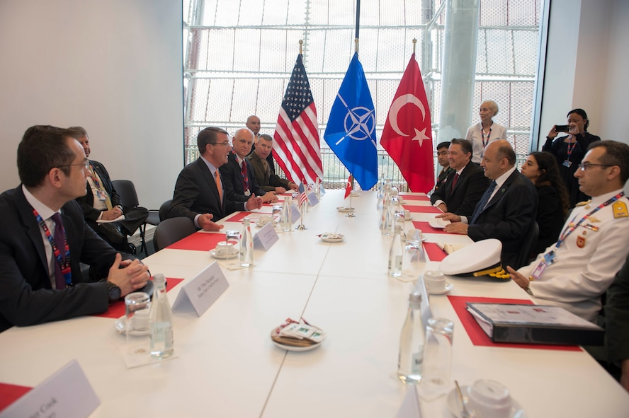 Defense Secretary Ash Carter, second from left, meets with Turkish Defense Minister Vecdi Gonul, second from right.