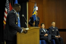 U.S. Air Force Col. Alfred Flowers, 52nd Medical Group commander, speaks during the 52nd DS change of command ceremony on Spangdahlem Air Base, Germany, July 11, 2016. During Flowers speech he says his farewells to Col. Ann Blake and her family as well as welcomed Lt. Col. David Jones and his family. (U.S. Air Force photo by Staff Sgt. Jonathan Snyder/Released)