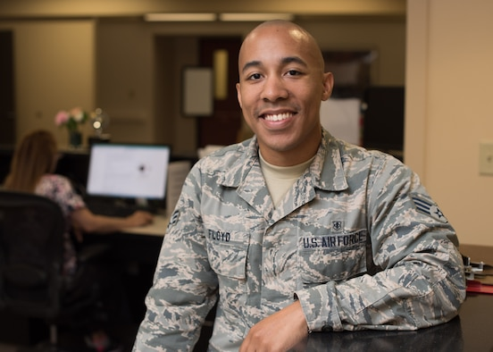 Senior Airman Vincent Floyd, 60th Orthopedics Flight medical administration specialist, has made a lasting impression on patients and co-workers with his commitment to service and caring for others. (U.S. Air Force photo by Ken Wright/RELEASED)