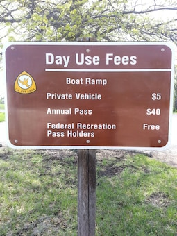 An increase has been made to the day-use fee schedule for U.S. Army Corps of Engineer day-use locations. The fee is now waived for America the Beautiful Interagency Pass holders, pass must be properly displayed.