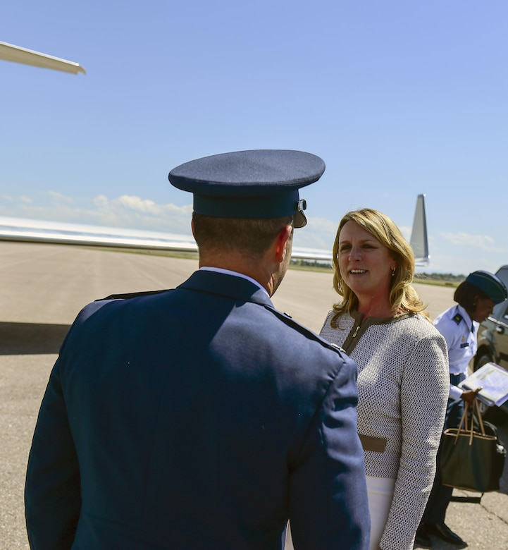 Air Force Secretary Deborah Lee James speaks with Col. John Wagner, 460th Space Wing commander, before she departs July 7, 2016, at Buckley Air Force Base, Colo. During her time at the base, James viewed the 460th Space Wing's Mission Control Station and spoke with space operators in their work centers and on the operations floor. (U.S. Air Force photo by Tech. Sgt. Nicholas Rau)