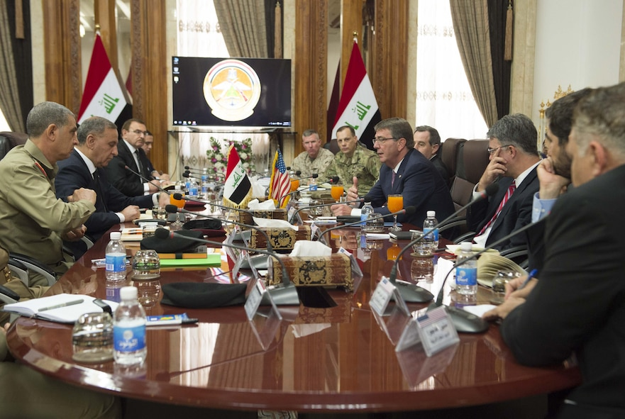 Defense Secretary Ash Carter, center right, meets with Iraqi Defense Minister Khaled al-Obeidi, second from left