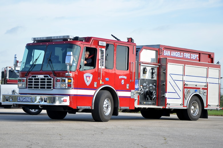 A San Angelo firefighter drives a City of San Angelo fire truck on Goodfellow Air Force Base, Texas, July 8, 2016. The San Angelo Fire Department brought one of its fire trucks onto Goodfellow for maintenance as part of an agreement between Goodfellow and the City of San Angelo. (U.S. Air Force photo by Airman 1st Class Randall Moose/Released)