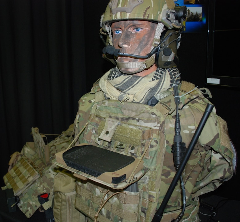 The display shows how the Bat Rack has been integrated into the gear so that the operator can easily access the tablet for needed information in the field. This mounting device was designed by the 711th Human Performance Wing's Battlefield Air Targeting Man-Aided k(N)owledge team--also known as the BATMAN team. (U.S. Air Force photo by Gina Marie Giardina)