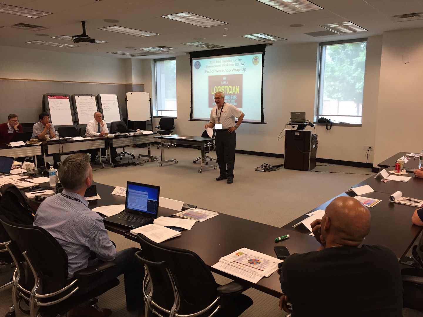 Lt Gen (Ret) Chris Kelly, Director of the Center for Joint & Strategic Logistics, gives final guidance to the attendees before the conclusion of the highly successful event.