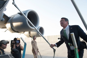 Defense Secretary Ash Carter boards an aircraft to depart from Bagram Airfield, Afghanistan, July 12, 2016. DoD photo by Navy Petty Officer 1st Class Tim D. Godbee
