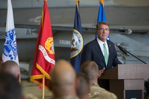 Defense Secretary Ash Carter speaks to troops at Bagram Airfield, Afghanistan, July 12, 2016. DoD photo by Navy Petty Officer 1st Class Tim D. Godbee