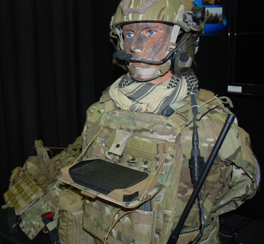 The display shows how the Bat Rack has been integrated into the gear so that the operator can easily access the tablet for needed information in the field. This mounting device was designed by the 711th Human Performance Wing's Battlefield Air Targeting Man-Aided Knowledge team, also known as the BATMAN team. (U.S. Air Force photo/Gina Marie Giardina)