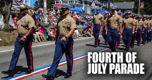 Maj. Marc Walker, operations officer, 8th Communication Battalion, and 1st Sgt. Hernandez, first sergeant, Co, 8th Comm. Bn., lead Marines with 8th Communication Battalion during the Bristol Fourth of July Parade in Bristol, Rhode Island, July 4, 2016. Marines marched directly behind the sailors of the USS Arlington and Navy officer candidates from Naval Officer Training Command Newport, RI. (U.S. Marine Corps photo illustration by Cpl. Paul S. Martinez/Released)