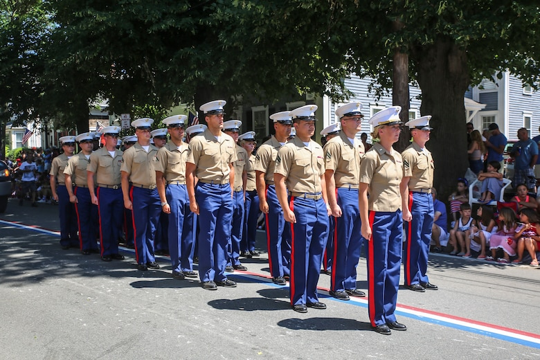 Marines with 8th Communication Battalion prepare to march during the Bristol Fourth of July Parade in Bristol, Rhode Island, July 4, 2016. The annual celebration has a history dating back to 1785, when Henry Wight, a Revolutionary War veteran, conducted the first patriotic exercises. The parade itself is believed to have formally begun in the 1800s. (U.S. Marine Corps photo by Cpl. Paul S. Martinez/Released)