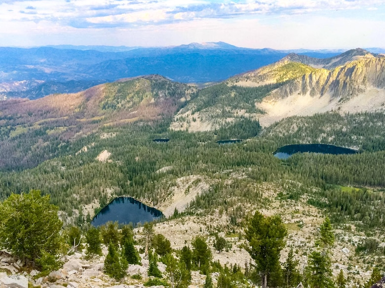 Two lakes lie in the Rainbow Basin in the Boise National Forrest, Idaho, 2015. These high altitude Alpine lakes are often seen as hotspots for wildlife activity and can offer a good chance for animal sightings. (Courtesy photo by Aj Workinger/RELEASED)