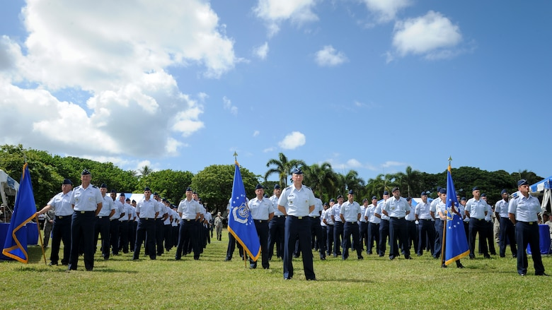 Pacific Air Forces Airmen representing the command's numbered Air Forces listen to remarks by their new commander, Gen. Terrence J. O'Shaughnessy, during an assumption-of-command ceremony at Joint Base Pearl Harbor-Hickam, Hawaii, July 12, 2016. O'Shaughnessy now leads U.S. Pacific Command's Air Component, delivering airpower across 52 percent of the globe. (U.S. Air Force photo by Staff Sgt. Kamaile Chan)