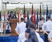 Gen. David L. Goldfein, U.S. Air Force Chief of Staff, provides remarks during an assumption-of-command ceremony at Joint Base Pearl Harbor-Hickam, Hawaii, July 12, 2016. Goldfein and Adm. Harry B. Harris, Jr., U.S. Pacific Command commander, presided over the ceremony in which Gen. Terrence J. O'Shaughnessy assumed command of Pacific Air Forces. (U.S. Air Force photo by Capt. Raymond Geoffroy)