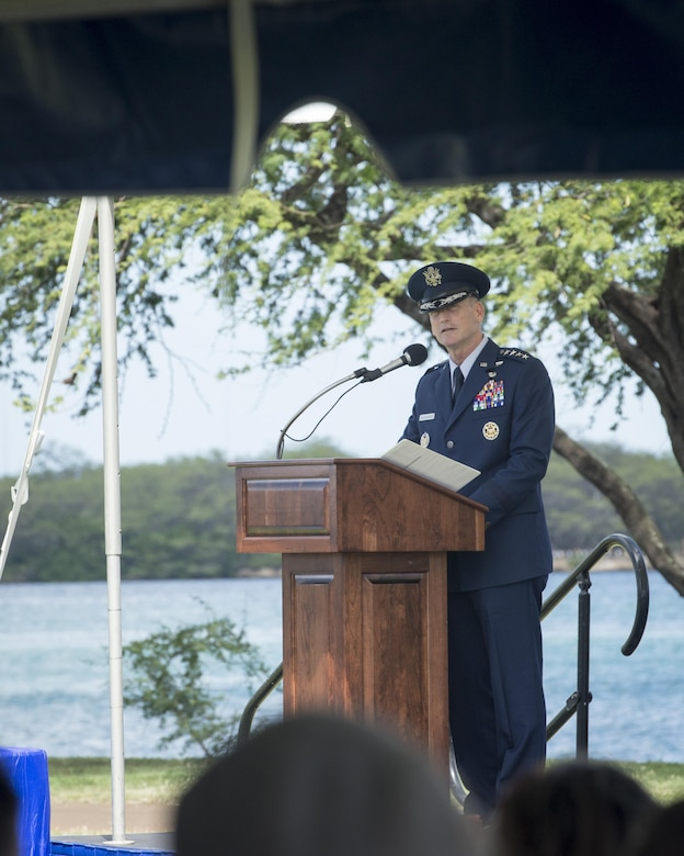 Gen. Terrence J. O'Shaughnessy gives his remarks during an assumption-of- command ceremony at Joint Base Pearl Harbor-Hickam, Hawaii, July 12, 2016. O'Shaughnessy now leads U.S. Pacific Command's Air Component, delivering airpower across 52 percent of the globe. (U.S. Air Force photo by Capt. Raymond Geoffroy)