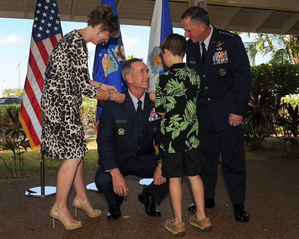 Lt. Gen. Terrence J. O'Shaughnessy receives his general stars pinned on by his family and Gen. David L. Goldfein, U.S. Air Force Chief of Staff, at Joint Base Pearl Harbor-Hickam, Hawaii, July 12, 2016. O'Shaughnessy, a command F-16 pilot with more than 3,000 flight hours, was previously the commander of Air Component Command, Republic of Korea/U.S. Combined Forces Command, and the Seventh Air Force, Osan Air Base, Republic of Korea. (U.S. Air Force photo/Staff Sgt. Kamaile Chan)