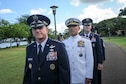 Gen. David L. Goldfein, U.S. Air Force Chief of Staff, Adm. Harry B. Harris, Jr., U.S. Pacific Command commander, and Gen. Terrence J. O'Shaughnessy prepare to arrive at an an assumption-of-command ceremony at Joint Base Pearl Harbor-Hickam, Hawaii, Tuesday, July 12, 2016. During the ceremony, O'Shaughnessy, assumed command of Pacific Air Forces. (U.S. Air Force photo by Staff Sgt. Kamaile Chan)