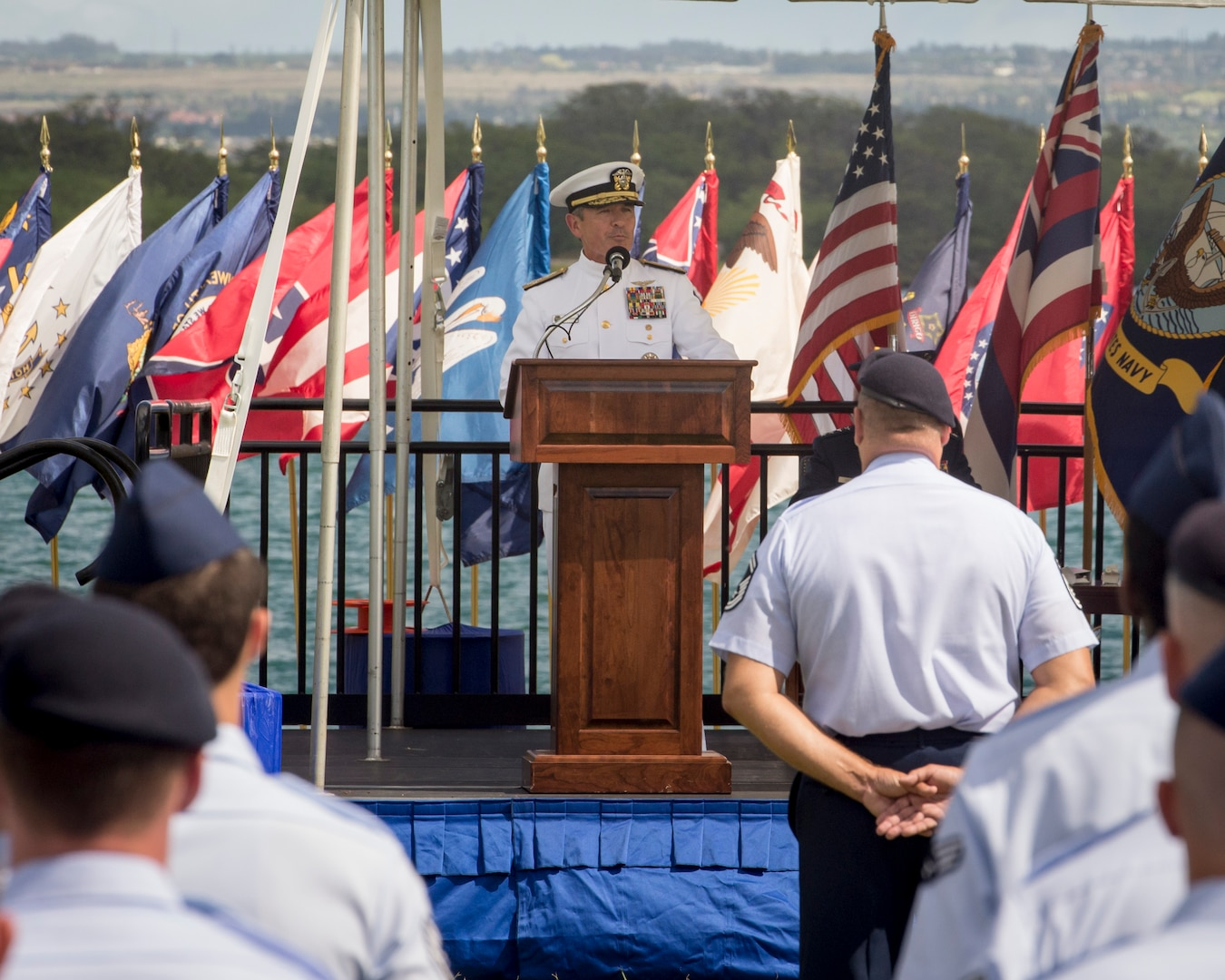 Adm. Harry B. Harris, Jr., U.S. Pacific Command commander, provides remarks during an assumption-of-command ceremony at Joint Base Pearl Harbor-Hickam, Hawaii, July 12, 2016. Harris and Gen. David L. Goldfein, U.S. Air Force Chief of Staff, presided over the ceremony in which Gen. Terrence J. O'Shaughnessy assumed command of Pacific Air Forces. (U.S. Air Force photo by Capt. Raymond Geoffroy)