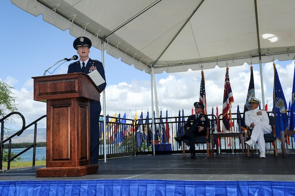 Gen. Terrence J. O'Shaughnessy gives his remarks during an assumption-of-command ceremony at Joint Base Pearl Harbor-Hickam, Hawaii, July 12, 2016. O'Shaughnessy now leads U.S. Pacific Command's Air Component, delivering airpower across 52 percent of the globe. (U.S. Air Force photo by Staff Sgt. Kamaile Chan)
