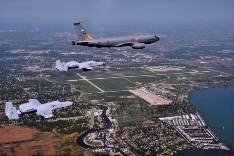A KC-135 Stratotanker and two A-10 Thunderbolt IIs from the 127th Wing fly over the wing's home station of Selfridge Air National Guard Base, Mich., May 24, 2016. The 127th Wing has been awarded the Spaatz Trophy by the National Guard Association of the United States, which recognizes the top flying unit in the country in the National Guard. (U.S. Air National Guard photo by Master Sgt. Elizabeth Holliker)