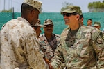 Army Gen. Joseph L. Votel, commander of U.S. Central Command, meets with Marine Corps Sgt. Maj. Clifford Wiggins and members of the Jordan's armed forces during Exercise Eager Lion 16 near Amman, Jordan, May 22, 2016. The general has made five trips to Iraq and Syria since taking command four months ago. He said at the Aspen Security Forum that he is encouraged by the rising confidence of Iraqi leaders in their fight against the Islamic State of Iraq and the Levant. Marine Corps photo by Cpl. Lauren Falk