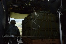A 1st Special Operations Squadron loadmaster prepares to drop a container delivery system bundle over a drop zone in New Zealand June 20, 2016. Members from the 353rd Special Operations Group participated in Exercise Teak Net June 12 through 30 in Whenuapai, New Zealand. During the exercise, members from both the New Zealand Defense Force and U.S. Air Forces worked together to conduct personnel and equipment air drops while exchanging new techniques. (U.S. Air Force photo by Master Sgt. Kristine Dreyer)