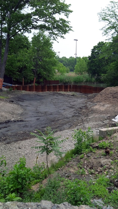 Removal of sediment downstream of Avenue Louis Pasteur Culvert to create the Flood Risk Management Channel – mid June 2015