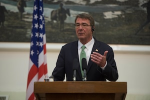 Defense Secretary Ash Carter speaks during a news conference in Kabul, Afghanistan, July 12, 2016. Carter visited Afghanistan to meet with government leaders about the Resolute Support mission. DoD photo by Navy Petty Officer 1st Class Tim D. Godbee