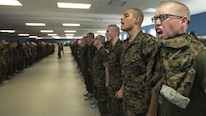 Recruits of India Company, 3rd Recruit Training Battalion, respond to a command June 11, 2016, at Recruit Training Depot Parris Island, South Carolina. Recruits spend the first week of training learning the day to day routine. India Company is scheduled to graduate Sept. 2, 2016. Parris Island has been the site of Marine Corps recruit training since Nov. 1, 1915. Today, approximately 19,000 recruits come to Parris Island annually for the chance to become United States Marines by enduring 12 weeks of rigorous, transformative training. Parris Island is home to entry-level enlisted training for approximately 49 percent of male recruits and 100 percent of female recruits in the Marine Corps.