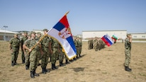 NATO and partner nations salute for the playing of each nation's national anthem during the opening ceremony of Exercise Platinum Lion 16-4 at Novo Selo Training Area, Bulgaria, July 11, 2016. Platinum Lion is a large scale exercise where eight NATO and partner nations came together for a multi-national, live-fire exercise aimed to strengthen regional defense.