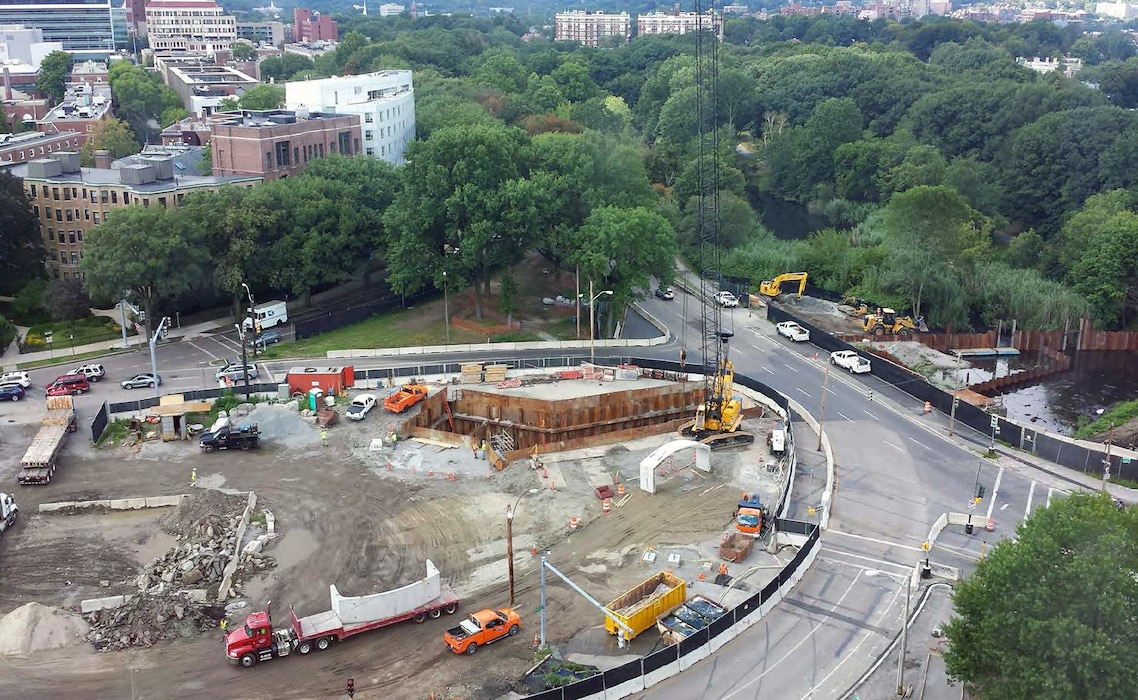 Note the crane is lifting the Riverway precast concrete culverts into place – 12 August 2015.