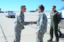 U.S. Air Force Brigadier General Steven Bleymaier, commander of Ogden Air Logistics Complex, greets General Ellen Pawlikowski, commander of Air Force Materiel Command, at Davis-Monthan Air Force Base, Ariz., July 12, 2016. The mission of the Air Force Materiel Command is to  deliver and support agile war-winning capabilities. (U.S. Air Force photo by Airman 1st Class Mya M. Crosby/Released)
