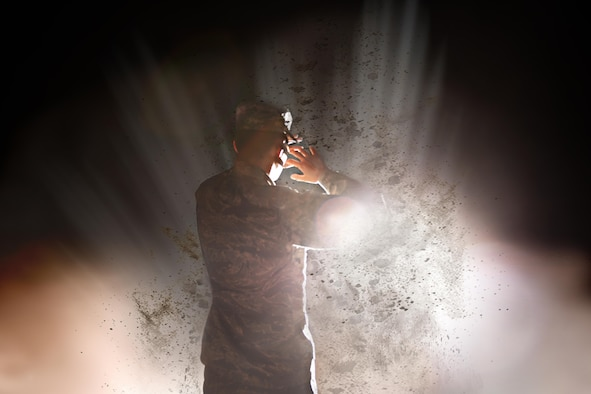 Explosive mechanisms accounted for 74.4 percent of combat casualties between the year 2005 to 2009, according to the United States Library of Medicine and National Institutes of Health. The photo depicts an Airman caught in an explosive-like scenario to represent retired Air Force Staff Sgt. Chris Campbell's trials during his service in Iraq in 2005. (U.S. Air Force illustration by Airman 1st Class Caelynn Ferguson/Released)